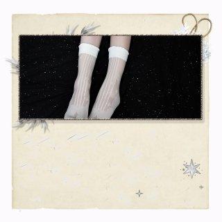 ロリータファッション 音符 デザイン ショート丈 ストッキング ソックス ホワイト ブラック 譜面 可愛い 透け感 レース 夏 loli106006