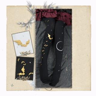 ロリータファッション コウモリ デザイン ゴシック タイツ 月 120デニール 蝙蝠 ブラック ゴールド ゴス ムーン loli106007