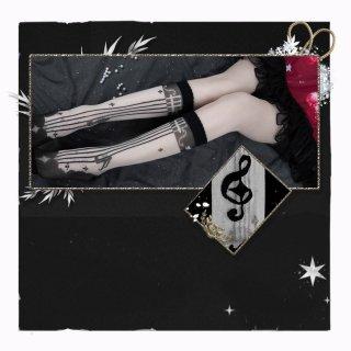 ロリータファッション 譜面 デザイン ハイソックス ストッキング 透け感 音符 ブラック 可愛い クラシカル ロング loli107003