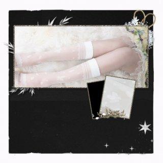 ロリータファッション 蝶々デザイン ハイソックス ストッキング 透け感 蝶 夏 シースルー ホワイト ブラック レース loli108004