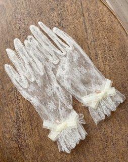 【受注生産】ロリータ Sweet Dreamer Vintage エレガントレース ホワイト 手袋 リボン シースルー 上品