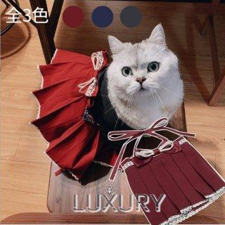 【受注生産】ロリータ NyaNya ネコちゃん用 和柄 袴 レッド レース リボン 上品 袴のみ プリーツ