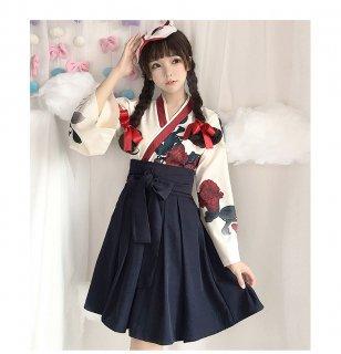 ロリータ 花柄 トップと袴風 ショート丈 プリーツスカートのセットアップ レッド ネイビー 和ロリ フラワーデザイン