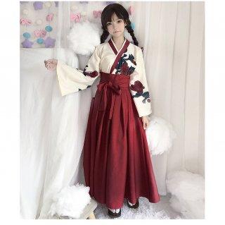 ロリータ 花柄 トップと袴風 ロング丈 プリーツスカートのセットアップ レッド ネイビー 和ロリ フラワーデザイン