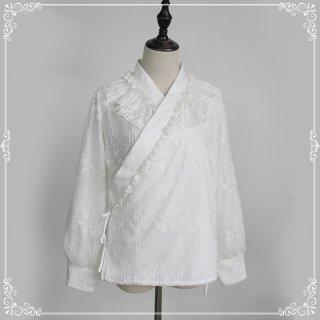 ロリータ 和ロリ風 長袖ブラウス ホワイト 通年 レース 刺繍 フラワー 襟 桜 可愛い 立体的 着物 和装 洋装 loli118005