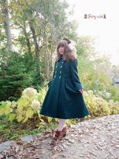 Fairy wish リボン刺繍コート グリーン ミモレ丈 刺繍 フラワー ポシェット クラシカル 冬 防寒 あったか 可愛い