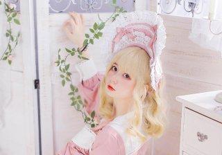 【受注生産】 Rabbit&sheep レース リボン いっぱい ボンネット 甘ロリ 可愛い ピンク グリーン ブルー