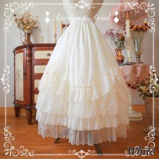 ロリータ ゴージャス フリル 85cm ロングペチコート ホワイト ベージュ ブラック インナー スカート フレア クラシカル
