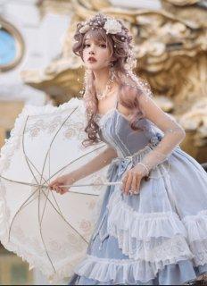 NyaNya シフォン重ね クラシカル ジャンパースカート ブルー ピンク 天使 妖精 クラシカル 甘ロリ レース 可愛い パステルカラー loli123004