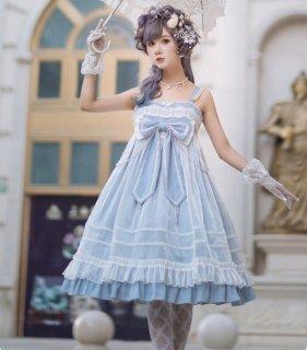NyaNya シフォン 重ね おリボンが可愛い ハイウエストジャンパースカート ブルー ピンク 天使 妖精 膝丈ワンピース パール 甘ロリ クラシカル loli123005