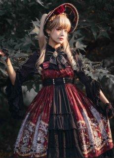 NyaNya ウサギさん デザインフロントフリル ミモレ丈ジャンパースカート ゴシック ワインレッド ネイビー ブラック リボン  loli124004