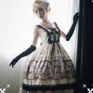NyaNya ウサギさん デザイン 十字架 ミモレ丈 ジャンパースカート ワインレッド ネイビー ブラック パール loli124005
