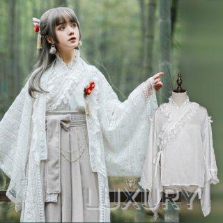 現品限り NyaNya 和ロリ 着物襟 長袖 ブラウス 姫袖 フリル レース 和装 ホワイト リボン 上品 クラシカル 袴 loli126003