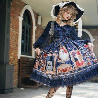 DorisNight 猫ちゃん デザイン 長袖ワンピース シフォン ふわふわ ネイビー レッド レッド リボン 甘ロリ フリル パフスリーブ loli127001
