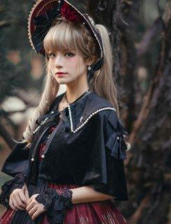 NyaNya ベルベット ショート丈 ケープ ブラック クロス 十字架 リボン ゴシック クール クラシカル 襟