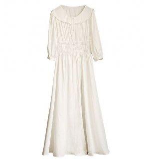 レディース ワンピース ホワイト ロング 半袖 ドレス お姫様 ふんわり 可愛い ロリータ ラブリー 人気 トレンド semil0001