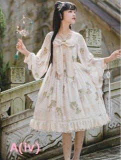 ロリータ Cyan Lolita ワンピース2色 甘ロリ リボン ドレス 花柄 シルク ミディアム フレア ラブリー 春夏 loli2050