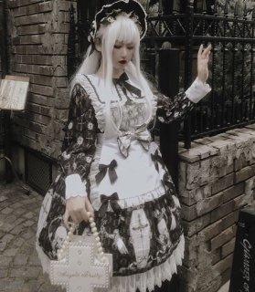 ロリータ ワンピース2色 DiamondHone ゴシック ミディアム フリル プリント 長袖 春夏 メイド ロリータファッション