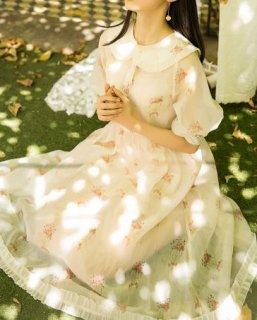 レディース ワンピース 刺しゅう アイボリー ミディアム丈 フレア 春夏 五分袖 パフスリーブ 花柄 semil0017