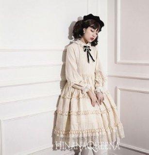 ロリータ ワンピース HinanaQueena クラシカル 長袖 ミディアム フレア ベージュ 春夏 ロリータファッション loli2075
