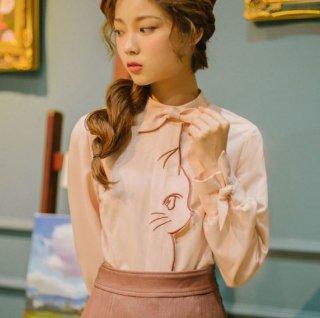レディース ブラウス トップス 猫 リボン ピンク 上品 かわいい セミロリータ 長袖 semil0026