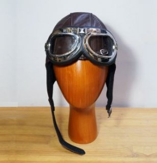スチームパンク 飛行帽 帽子 ブラウン フリーサイズ ギア リアルレザー 牛革 通年  ロリータファッション loli2168
