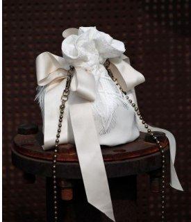 スチームパンク 巾着バッグ ホワイト フェイクレザー りぼん フェミニン チェーン かわいい ロリータファッション loli2208