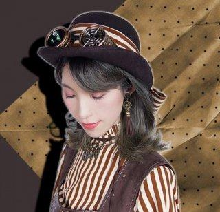 スチームパンク steampunk 帽子 ハット ストライプ ゴーグル リボン ロリータファッション loli2235