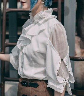 スチームパンク ブラウス 甘ロリ ホワイト フリル かわいい シフォン ゴスロリ 春夏 七分袖 ロリータファッション loli2244