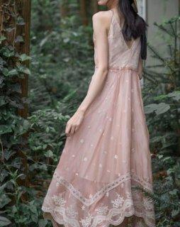 レディース ワンピース ピンク レース キャミワンピース ドレス サマードレス リゾート お呼ばれ バックV セミロリータ semil0054