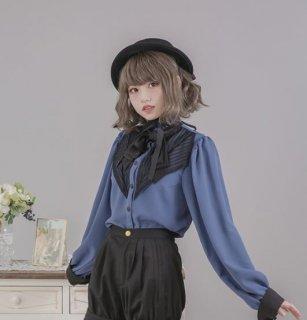 ロリータ ブラウス Dolly Delly リボン 春物 ブルー ブラック グレー とろみ質感 上品 クラシカル フェミニン かわいい 長袖 ロリータファッション loli2250