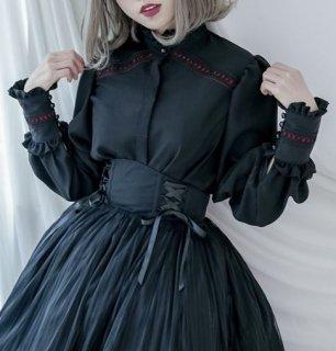 ロリータ ブラウス Dolly Delly レース 春物 ブラック フリル パフ袖 上品 クラシカル フェミニン かわいい 長袖 ロリータファッション loli2251