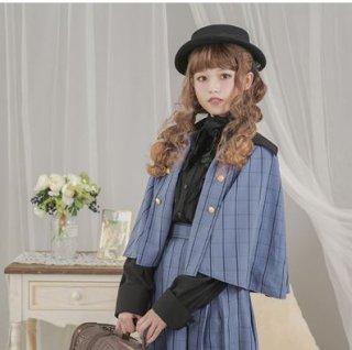 ロリータ マント ケープ ジャケット Dolly Delly ライトアウター 春物 ブルー ブラック チェック かわいい クラシカル きれいめ 上品 発表会 お呼ばれ ロリータファッ loli2253