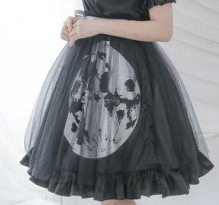 ロリータ スカート Dolly Delly ブラック チュール 月 ムーン 春夏 ミディアム ゴシック ひざ上丈 ふんわり リボン フリル ロリータファッション loli2255