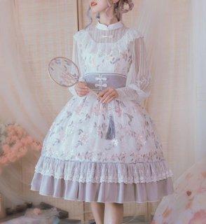 ロリータ ジャンスカ ホワイト 華ロリ コルセット ベルト ミディアム フレア 花柄 刺しゅう かわいい 清楚 エレガント きれいめ フェミニン ドレス チャイナドレス  か loli2314