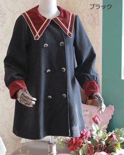 ロリータ スモックコート 4色 ジャケット 春 ライトアウター 制服 ボタン セーラー ブラック ブラウン ネイビー ワイン かわいい カジュアル 長袖 襟付き おしゃれ ロリータ loli2429