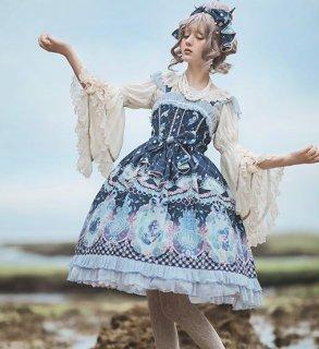 ロリータ ロマンティック ジャンスカ3色 人魚姫 マーメイド プリント 甘ロリ リボン レース サックス ピンク ネイビー ふんわり フレア レース ミディアム かわいい  loli2521