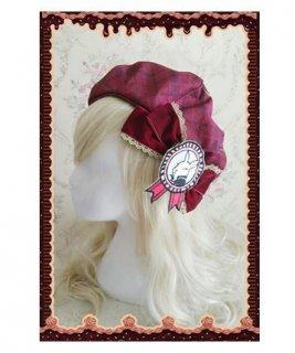 ロリータ チェック柄 帽子 ベレー帽 リボン うさぎ ワッペン リボン ワイン フリーサイズ かわいい 人気 通年 トレンド ファッション雑貨 小物 ゴスロリ ロリータファ loli2526