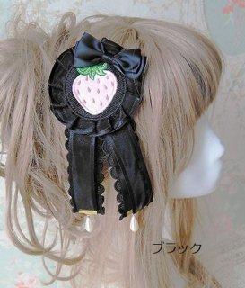 ロリータ スイート ブローチ 髪飾り いちご リボン アクセサリ ヘアアクセサリ 2way キュート カジュアル ストロベリー ブラック レッド ピンク ボリューム  loli2535