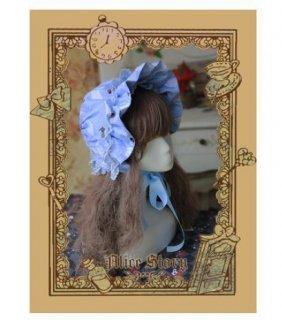 ロリータ アリス ボンネット2色 帽子 ブルー クリーム カジュアル かわいい プリント 総柄 通年 ファッション雑貨 小物 フリーサイズ おでかけ パーティ お茶会 茶話会  loli2538