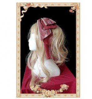 ロリータ 宮殿 リボンカチューシャ ワイン ピンク ふんわり ロング かわいい 甘ロリ お揃い プリンセス お姫様 姫ロリ ヘッドドレス ヘアアクセサリ トレンド ゴスロリ ロ loli2575