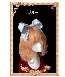 ロリータ ロイヤルキャット リボンカチューシャ4色 ブルー ネイビー ワイン ピンク レース ヘッドドレス かわいい ヘアアクセサリ ファッション雑貨 ガーリー キュート 甘ロリ loli2581