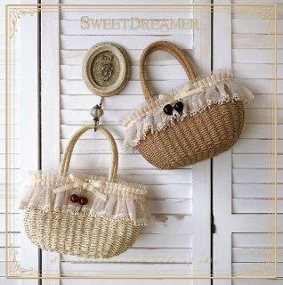 SweetDreamer ロリータ かごバッグ かばん バスケット さくらんぼ チェリー インナーバッグ付き 巾着 春夏 かわいい キュート 甘ロリ 人気 トレンド ホワイト カーキ loli2601