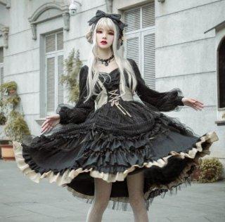 【納期2か月半】ロリータ タック スカート ワンピース Lolita ゴシック ブラック ハイウエスト レースアップ ミディアム フレア ふんわり 春物 長袖 パフスリーブ かわいい loli2643
