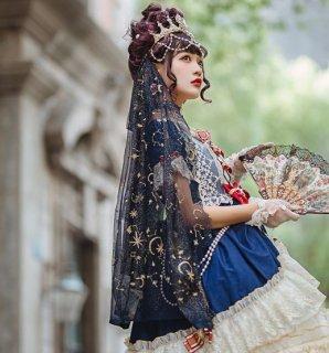 ロリータ ベール Lolita チュール ふんわり 月 星 キラキラ かわいい フリーサイズ 通年 パーティ ドレス お呼ばれ おでかけ ヘッドドレス ファッション雑貨 小物 ゴスロ loli2649