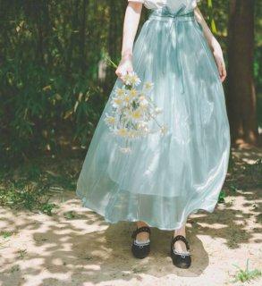 【納期25日】レディース スカート2色 ロング グリーン ブルー フレア ふんわり シフォン 光沢感 ウエストリボン かわいい 春夏 涼やか おしゃれ 大きいサイズ サイズ豊富 人 semil0085