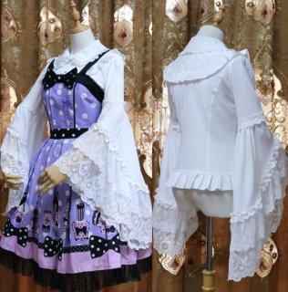 ロリータ 姫袖 長袖 ブラウス 2色 ホワイト ブラック 春夏 フレアスリーブ 華やか 襟付き ボタン ふんわり かわいい 発表会 演奏会 パーティ 甘ロリ 大きいサイズ