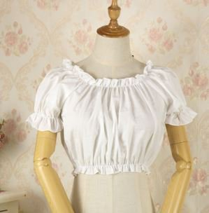ロリータ Lolita ブラウス 2色 半袖 ショート丈 ビスチェ ホワイト ブラック フリル 春夏 ふんわり スタイルアップ 甘ロリ かわいい キュート フリーサイズ ラウンドネック