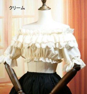 ロリータ Lolita フリル いっぱい ビスチェ 3色 ティアードフリル ラウンドネック 半袖 レース クリーム ブラック ホワイト ショート丈 かわいい ふんわり シフォン 無地 シンプル