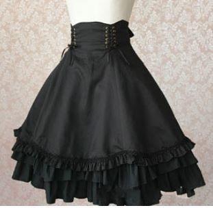 ロリータ Lolita サイド 編み上げ スカート アシンメトリー 通年 ブラック アシメ ウエストマーク コルセット 大きいサイズ サイズ豊富 ミディアム ひざ上丈 レースアップ ゴシック